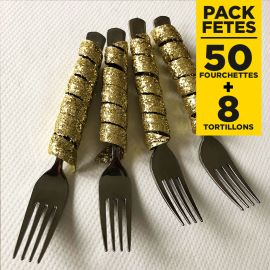 Pack 50 fourchettes inox + 8 tortillons pailletés or