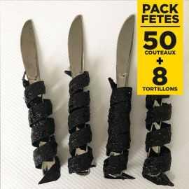 Pack 50 couteaux inox + 8 tortillons pailetés noirs
