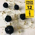 Pack 12 mini-boules rotin noires + guirlande or 3m
