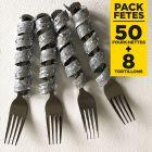 Pack 50 fourchettes inox + 8 tortilons pailletés argent
