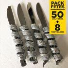 Pack 50 couteaux inox + 8 tortillons pailletés argent