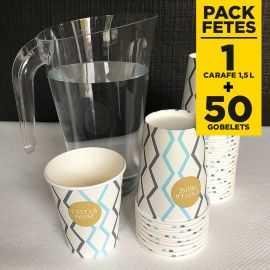 Pack carafe 1,5 litres + 50 gobelets 25cl ethnique