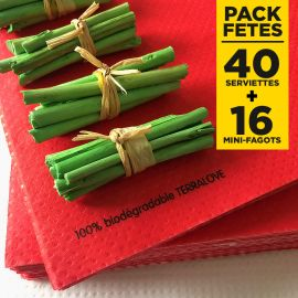 Pack 40 serviettes Bio rouges + 16 mini-fagots bois verts