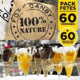 Pack 60 verrines love + 60 serviettes 100% nature gratuites
