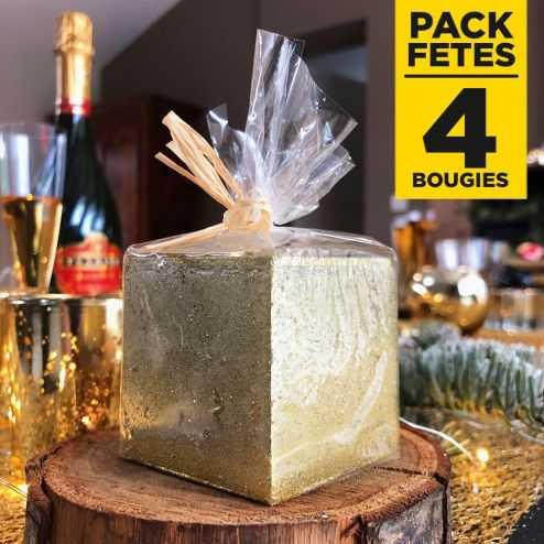 Pack 4 bougies cadeau de table pailletées or