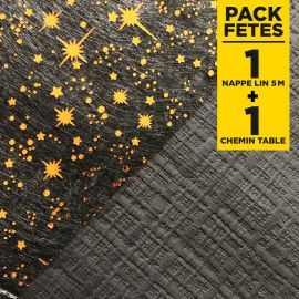 Pack 1 nappe noire ébène 5m + 1 chemin de table étoiles 5m