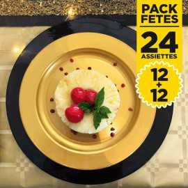 Pack 24 assiettes rondes luxe noires et or 24 et 19 cm