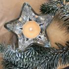 Pack 2 seaux bois naturels + 2 photophores étoiles argent