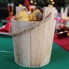 Pack 2 seaux bois naturels + chemin de table kraft noir