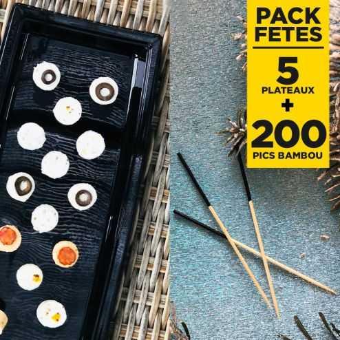 Pack 5 plateaux noirs luxe + 200 pics apéritifs