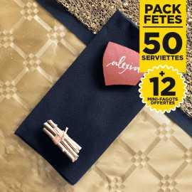 Pack 50 serviettes lin noires + 12 mini-fagots or gratuits