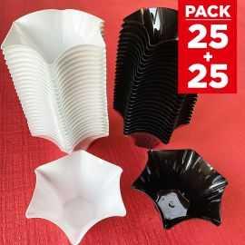 Pack 50 verrines pétunia Recyclables - réutilisables 25 blanches + 25 noires