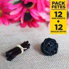 Pack Déco de table noir 12 Mini-fagots+12 boules rotin
