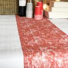 Chemin de table coton décor rouge 5 mètres