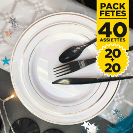 Pack 40 assiettes rondes liseré argent 19 et 23cm