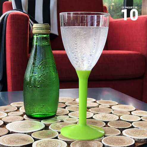 Verre à pied vert anis 16cl Recyclable - réutilisable