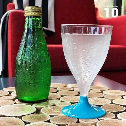 Verre à pied turquoise 20 cl. Recyclable réutilisable. Par 10