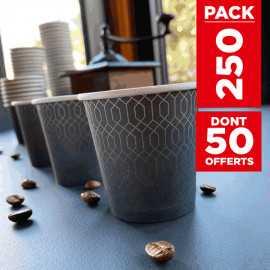 Pack 200 gobelets carton graphite 12cl + 50 gratuits
