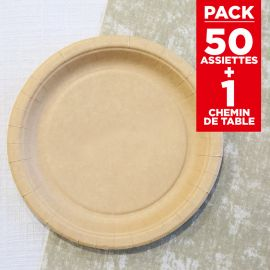 Pack 50 assiettes kraft Bio + chemin coton naturel 5m