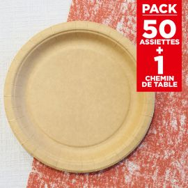 Pack 50 assiettes kraft Bio + chemin coton rouge 5m