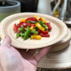 Pack 50 assiettes kraft Bio + chemin coton jaune 5m