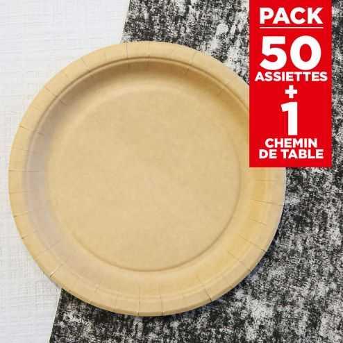 Pack 50 assiettes kraft Bio + chemin coton noir 5m