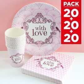 Pack 20 personnes décor Shabby rose