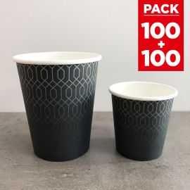 Pack 200 gobelets carton graphite 12cl + 24cl