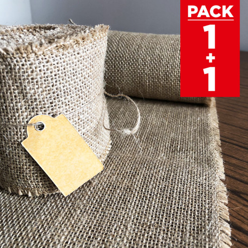 Pack chemin de table + ruban 5m jute naturelle