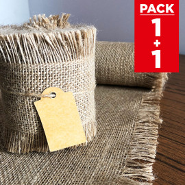 Pack chemin de table + ruban 5m jute à franges