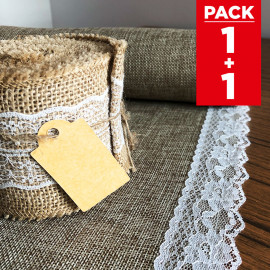 Pack chemin de table + ruban 5m jute et dentelle