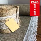 Pack chemin de table + ruban 5m jute et dentelle