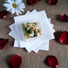 Mini-serviettes blanches Biodégradables 20x20cm. Par 40