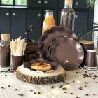 20 Assiettes pétale 21cm chocolat Biodégradables et compostables