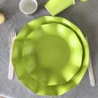 20 Assiettes pétale 21cm vertes biodégradables et compostables