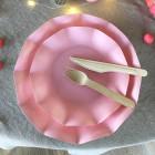 20 Assiettes pétale 21cm roses biodégradables et compostables