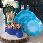 20 Assiettes pétale 27cm turquoise biodégradables et compostables