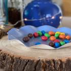 20 Assiettes pétale 21cm bleues Biodégradables et compostables