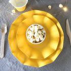 20 Assiettes pétale 21cm jaunes Biodégradables et compostables