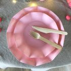 20 Assiettes pétale 27cm roses biodégradables et compostables
