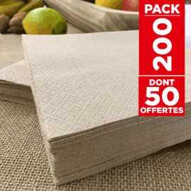 200 serviettes papier kraft 33 x 33cm 2 plis