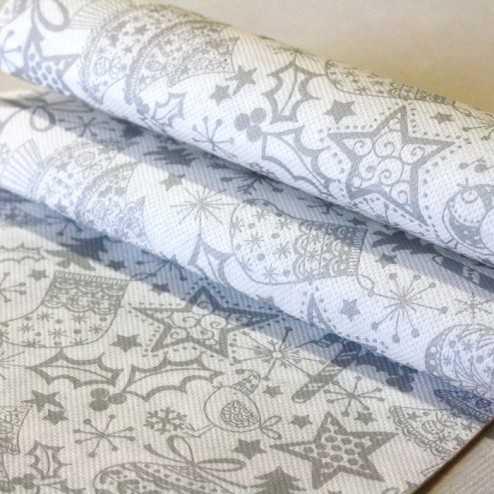 """Serviettes de fêtes papier """"Cotillons Argent"""" 38 x 38cm"""