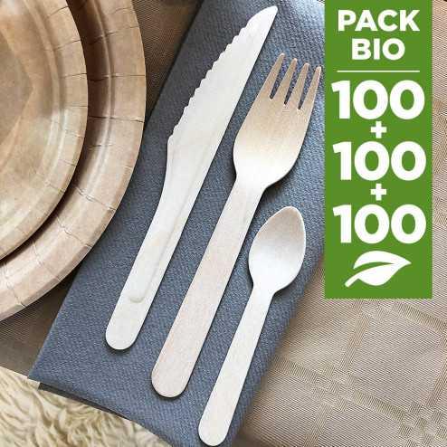 Pack 300 couvert bois biodégradables compostables