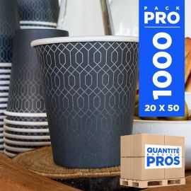 1000 Gobelets carton 21cl Décor graphite