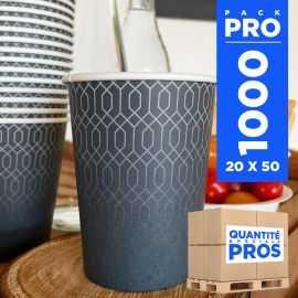 1000 Gobelets carton 24cl Décor graphite