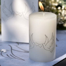 Bougie lumineuse 14 cm blanches colombes