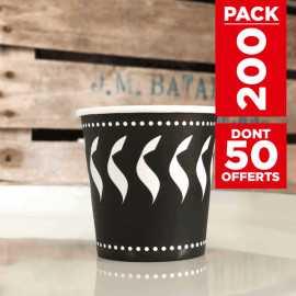 Pack 200 gobelets 12cl décor noir et blanc