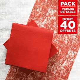 Pack chemin décor rouge + 40 serviettes soft rouges