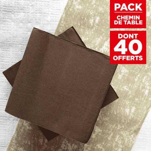 Pack chemin décor naturel + 40 serviettes soft chocolat
