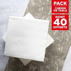 Pack chemin décor naturel + 40 serviettes soft blanches